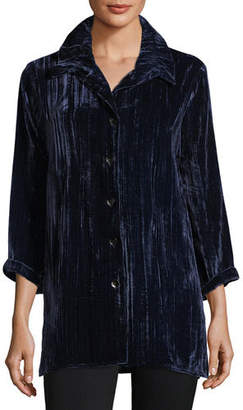 2ab5d381b100d Caroline Rose Plus Size Long Crinkled Velvet Shirt