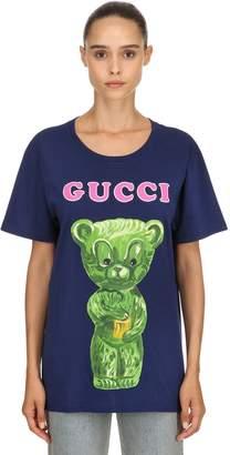 Gucci Teddy Bear Printed Cotton Jersey T-Shirt