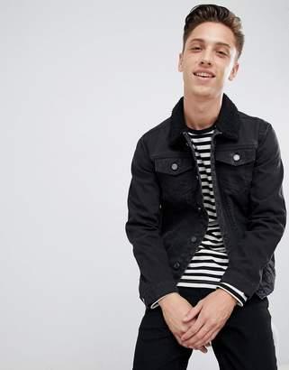 Brave Soul Denim Jacket With Fleece Collar