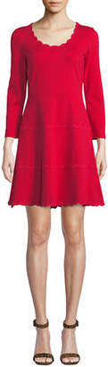 Kate Spade Scoop-Neck Mini Dress In Scalloped Ponte