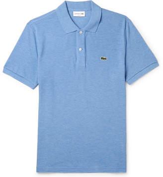 Lacoste Melange Cotton-Pique Polo Shirt - Men - Blue