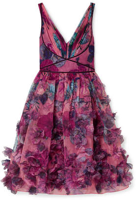 Marchesa Velvet-trimmed Printed Organza Dress