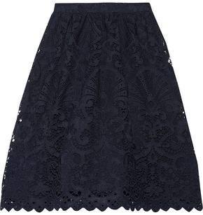 Alice + Olivia Gathered Guipure Lace Skirt