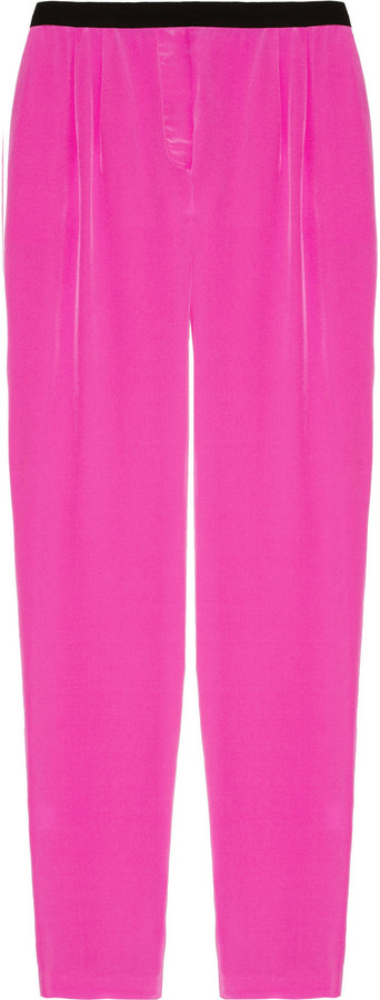 Mason by Michelle Mason Neon silk crepe de chine tapered pants