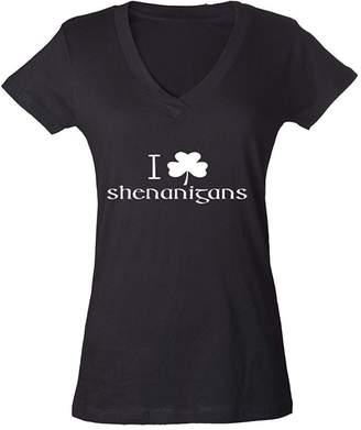 DAY Birger et Mikkelsen Cosmozz I Clover Shenanigans Funny Ladies V-Neck T-shirt St. Patricks Irish Shirts Black i4