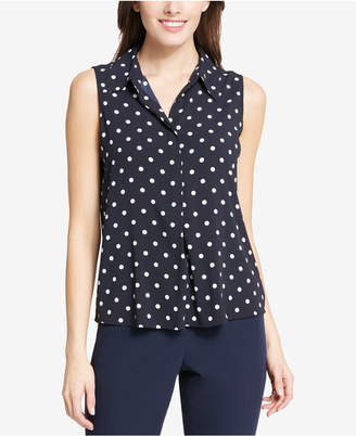Tommy Hilfiger Dot-Print Collared Shell