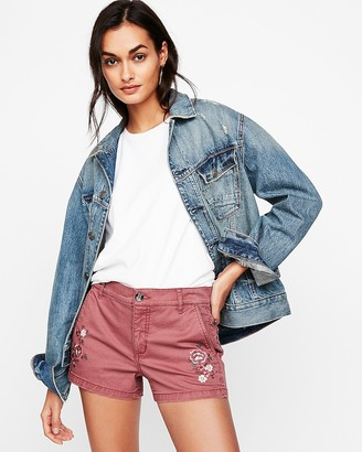 Express Mid Rise Embroidered Twill Shorts
