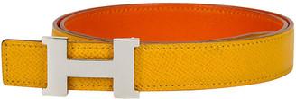 One Kings Lane Vintage Hermes Yellow & Orange Thin H Belt - Vintage Lux
