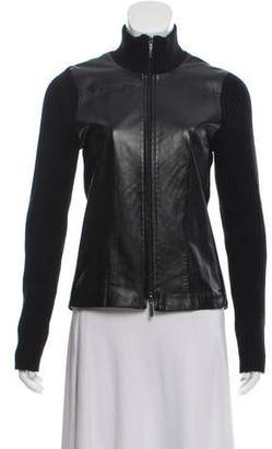 Burberry Leather-Accented Zip-Up Cardigan