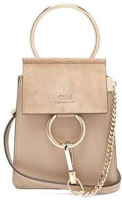 Chloé Faye Mini Suede Panel Leather Cross Body Bag - Womens - Grey