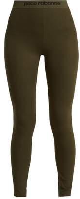 Paco Rabanne Bodyline Logo Jacquard Performance Leggings - Womens - Khaki