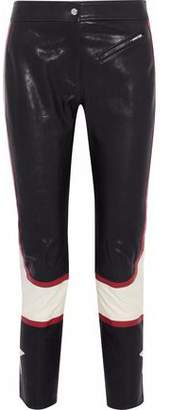Belstaff Cropped Color-Block Leather Slim-Leg Pants
