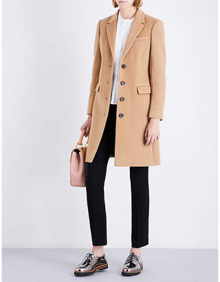 Burberry Ladies Camel Luxurious Sidlesham Single-Breasted Wool And Cashmere-Blend Coat