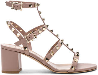 Valentino Leather Rockstud Sandals in Poudre   FWRD
