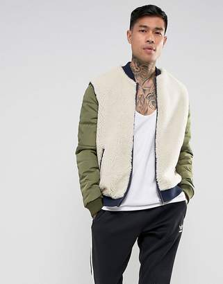 Asos Borg Bomber Jacket With Nylon Sleeves In Beige