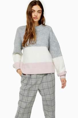 Topshop Knitted Colour Block Stripe Jumper