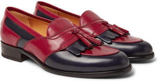 Gucci Curtis Two-Tone Leather Tasselled Kiltie Loafers - Claret