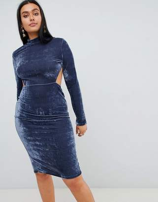 PrettyLittleThing High Neck Open Back Velvet Midi Dress