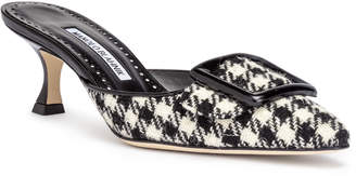 Manolo Blahnik Maysale 50 black and white tweed mules