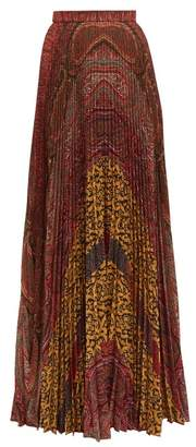 Etro Devon Pleated Paisley Print Maxi Skirt - Womens - Brown Multi