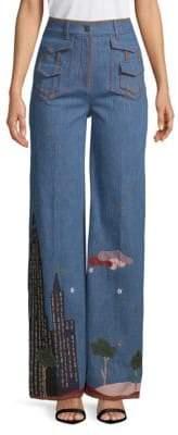Valentino Graphic Wide-Leg Jeans