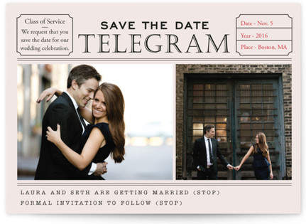Telegram Save the Date Postcards