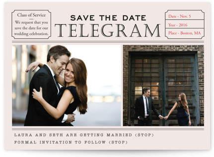 Telegram Save the Date Postcards