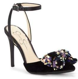 Jessica Simpson Pearlanna Sequin-Bow Ankle-Strap Pumps