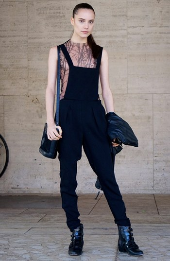 Topshop Faux Leather Overalls