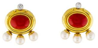 Paolo Costagli 18K Coral, Pearl & Diamond Earrings
