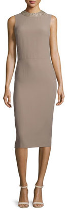 Ralph Lauren Collection Georgia Embellished Jewel-Neck Dress, Taupe $2,490 thestylecure.com