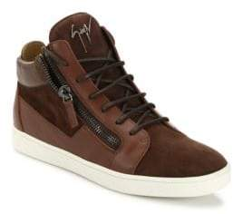 Giuseppe Zanotti Suede & Leather Mid-Top Sneakers