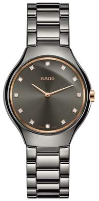Rado True Thinline Diamond Ceramic Bracelet Watch, 30mm