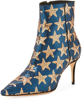 Schutz Star Sequined Point-Toe Boot, Navy