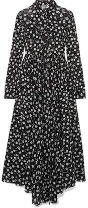 Jil Sander Floral-print Chiffon Maxi Dress - Black
