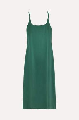 ASCENO - Washed-silk Midi Dress - Forest green