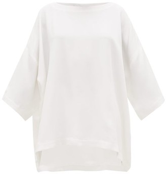 eskandar Bateau Neck Silk Crepe De Chine Tunic Top - Womens - White