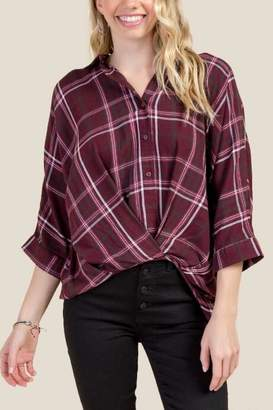 Kelsey Twist Front Button Down - Burgundy