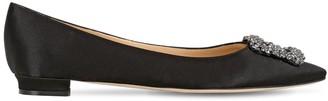 Manolo Blahnik 10mm Hangisi Swarovski Silk Satin Flats