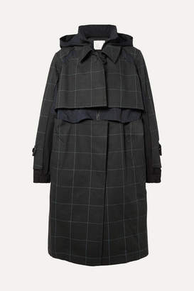 Sacai Oversized Layered Checked Cotton-canvas And Poplin Coat - Green