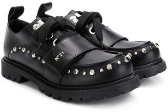 No.21 Kids TEEN studded touch-strap shoes