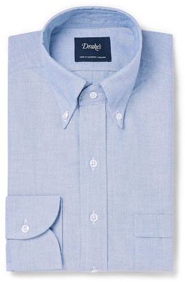 Drakes Drake's - White Easyday Button-Down Collar Cotton Oxford Shirt - Men - Blue