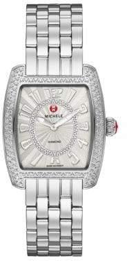 Michele Urban Mini 16 Diamond& Stainless Steel Bracelet Watch