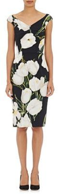 Dolce & Gabbana Women's Tulip-Print Satin-Back Crepe Sheath Dress-BLACK $2,575 thestylecure.com