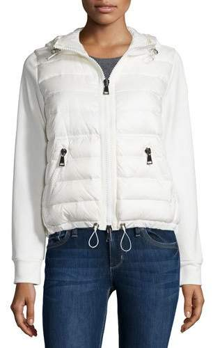 Moncler Moncler Maglia Hooded Knit Puffer-Front Cardigan, White