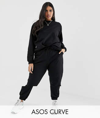 Asos DESIGN Curve tracksuit ultimate sweat / jogger with tie