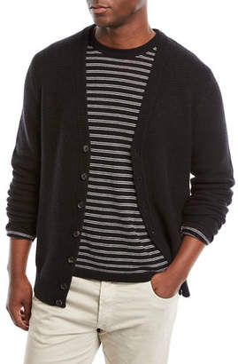 Neiman Marcus Men's Cashmere Solid Waffle-Knit Cardigan Sweater