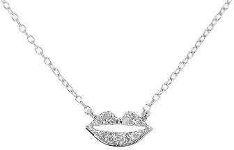 23 Collection Diamond Lips Necklace - White Gold