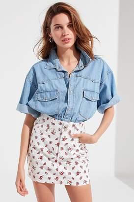 BDG Double-Button Floral Mini Skirt
