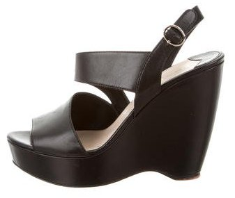 prada Prada Leather Ankle-Strap Wedges